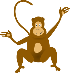 A cartoon monkey